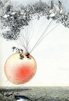 James and the Giant Peach illustration of peach flying