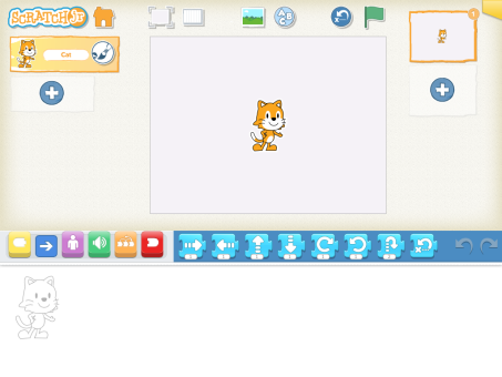 A blank ScratchJr screen