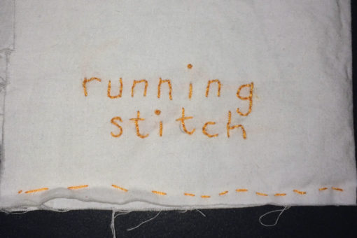 Running stitch example close up