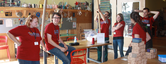 MAKESHOP staff goof around. Includes 2014 Maker Corps Members Crystal and Ethan, and 2013 Maker Coprs Member-turned-Teaching Artist Lauren.