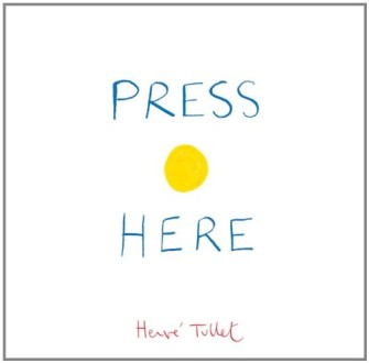 The cover of  Press Here (Hervé Tullet, 2011).